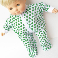 BITTY BABY CLOTHES, doll boy, girl or 15 inch twin, St. Patrick's Day, Irish, Shamrock, green white, pajamas, handmade adorabledolldesigns