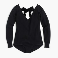 Cashmere bodysuit with velvet bow