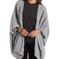 Gray Cable Knit Poncho Cardigan Sweater by Charlotte Russe