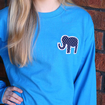 Preppy Short Sleeve T Shirt With Elephant Applique