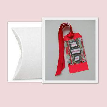 Valentine Tag with White Pillow Box and Red Ribbon Set