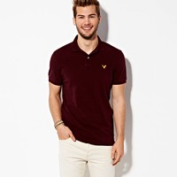 AEO Men's Solid Polo (Burgundy Ivy)