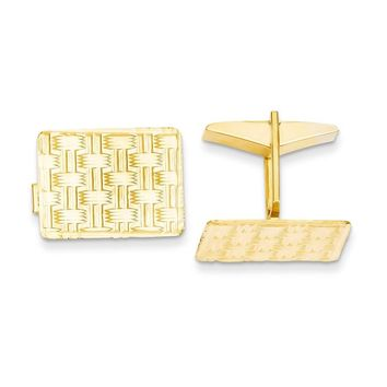 14k Solid Gold Textured Rectangular Cuff Links