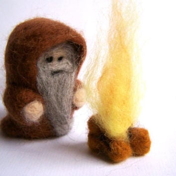 Needle Felted Wizard with Fire Merlin Druid Emrys by Knittynudo