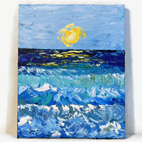 """Waves, Original Acrylic Painting, 16X20"""", Abstract Seascape, Ocean Painting, Beach Painting, Nautical Art, Textured Painting, Water painting"""