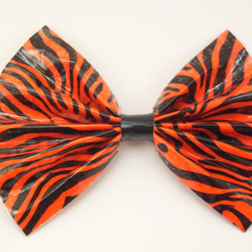 Orange Tiger Stripe Print Duct Tape Hair Bow by PyrateWench