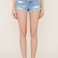 Cuffed Distressed Denim Shorts | Forever 21 - 2000152851
