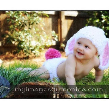 Cutest Crochet Easter Bunny Baby hat and diaper set EVER