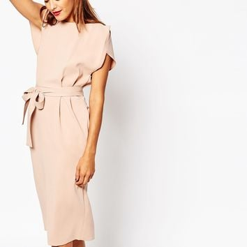 ASOS Belted Dress with Split Cap Sleeve and Pencil Skirt at asos.com