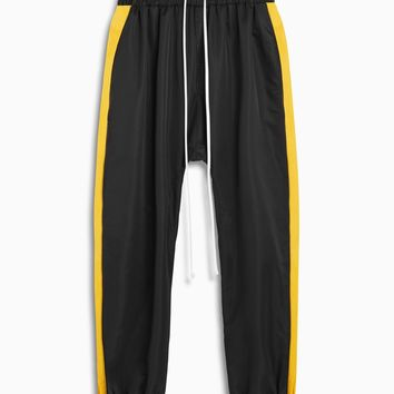 parachute track pant / black + yellow