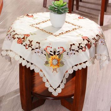 yazi Beige Sun Flower Square Tablecloth Embroidered Flower Cutwork Tablecloth Dining Room Table Cover Home Kitchen Decor