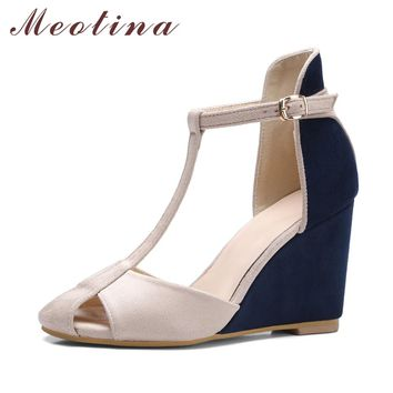Meotina Shoes Women Pumps High Heels Wedges Heels T-Strap Shoes Spring Ladies High Heel Shoes Cutout Party Pumps Summer Blue Red