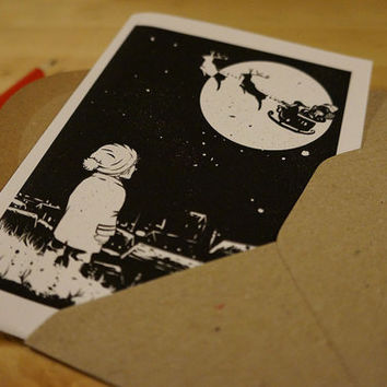 Illustrated Christmas Card: little boy looks at Santa in the sky - Black and White ,Hand made greeting card