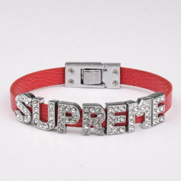 Supreme new stylish diamond letter women and men bracelet Red