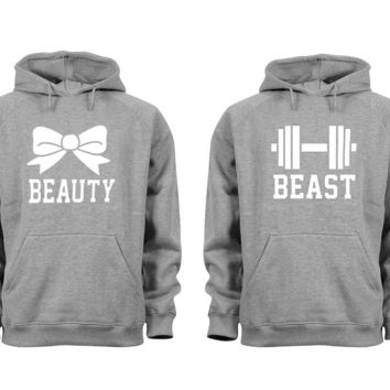 XtraFly Apparel Beauty Beast Valentine's Matching Couples Hooded-Sweatshirt Pullover Hoodie