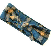 Winter Head Scarf Blue and Tan Flannel Headband Rockabilly Pinup Animal Print Dolly Bow Teen Women Girl Hair Accessory