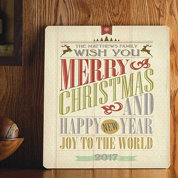 Personalized Wood Art Sign - Christmas Words