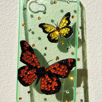 SALE// Butterfly iPhone 4 case, crystal rhinestone iphone 4 cover, handmade decoden