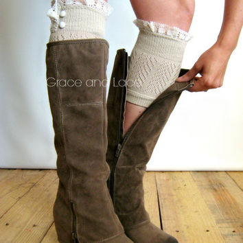 Dainty Lace Boot Cuffs 3 colors- TAN strechy knit boot topper lace trim & buttons - faux legwarmers - lace cuff - leg warmers (C10-29)