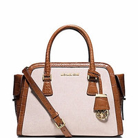 Michael Michael Kors Harper Medium Two Tone Canvas Satchel