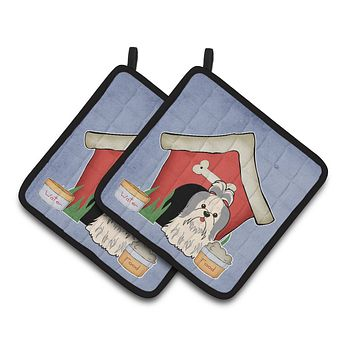 Dog House Collection Shih Tzu Silver White Pair of Pot Holders