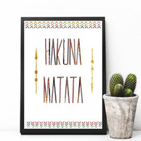 Hakuna matata art, Positive wall art, Printable Wall Art, Baby Room Print, Printable Art Cursive, Apartment Decor, Digital Download, Print
