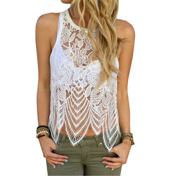 Factory Price! Fashion Women Summer Casual Sexy Lace Crochet Vest Tank Top Casual Sleeveless Blouse Shirt Free Shipping