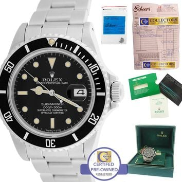 Vintage 1985 MINT Men's Rolex Submariner Date 16800 Black Stainless 40mm Watch