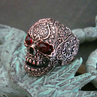 Gothic Skull Ring, Bulging Blood Shot Eyes, Sugar Skull Design, Freaky Jewelry, Copper Ox, Size 11 ONLY