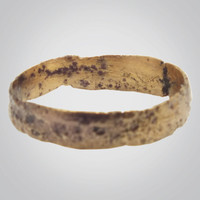 Ancient Viking Gold over Bronze Wedding Band Jewelry C.866-1067A.D. Size 8 1/2   (19.2mm)(BRR369)