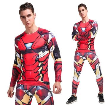 YANQIN Bodybuilding Suit Summer Iron Man 3D Printing Trainning Exercise Set Gym Compression Quick Dry Fitness Sports Clothes
