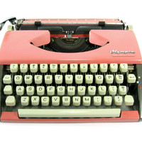 1962 Cursive Pink Olympia SF De Luxe Typewriter with Case / Script Font / Coral and Gray