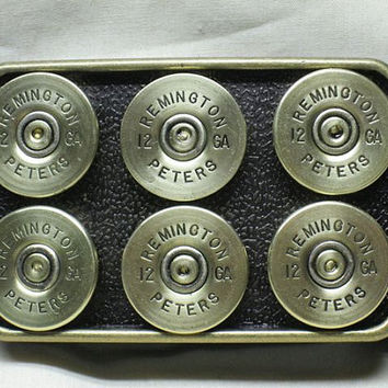 Remington 12 Gauge Brass Shotgun Shell Belt Buckle - Gift for Groom