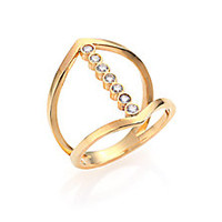 Zoe Chicco - Diamond & 14K Yellow Gold Cross Ring - Saks Fifth Avenue Mobile
