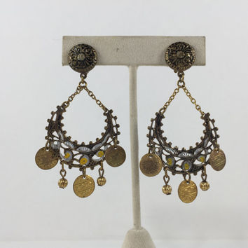 Spain Damascene Hoop Earrings, Dangle, Chandelier, Boho, Vintage Jewelry