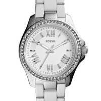 Women's Fossil 'Cecile' Top Ring Bracelet Watch - Silver