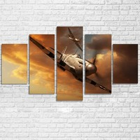 5 Panel Military Airplane Print Aircraft Landscape Panel Wall Art Canvas Print