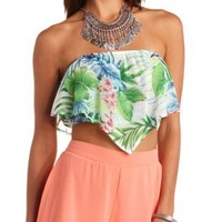 Tropical Floral Print Flounce Tube Top - White Combo