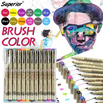 12 Colors Soft Brush Pen Drawing Brush Set Artist Soluble Sketch Pen Watercolor Marker for Paints Design Markers Art Supplies