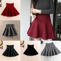 Ladies Women's High Waist Short Mini Skirt Winter Skater Flared Pleated Skirt US