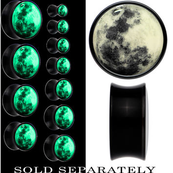 Moon Glow in the Dark Saddle Plug in Black Acrylic