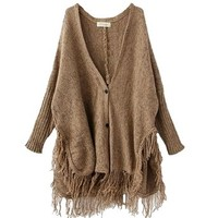 ELLAZHU Women Button Knit Fringed Tassels Batwing Cardigan Sweater Oversized Cape Onesize NL06 (Brown)