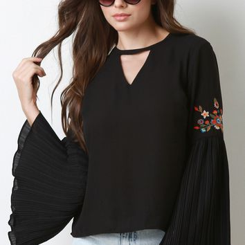 Pleated Bell Sleeves Boho Top