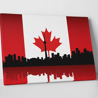 Vintage Canada Flag Over Toronto Skyline Gallery Wrapped Canvas Print