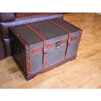 Sienna Medium Faux Leather Wooden Chest Steamer Trunk | Overstock.com