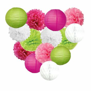 FLAMINGO BIRTHDAY Party Decoration Set-Hot Pink, Lime Party Poms & Lantern | Pink Flamingo Party, Sweet 16th Birthday | Fiesta Party