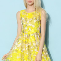 Summer Flower Organza Dress in Bright Yellow Yellow