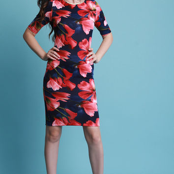 Floral Short Sleeve Bodycon Midi Dress | UrbanOG