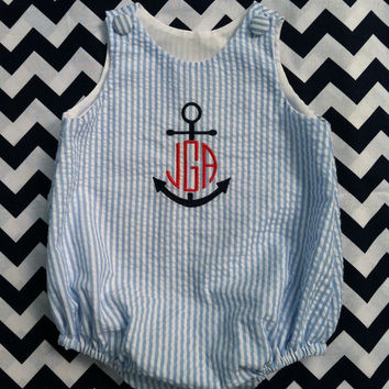 Blue and White Seersucker Monogrammed Baby Boys Bubble, Anchor Design, Sizes 3 months to 3T