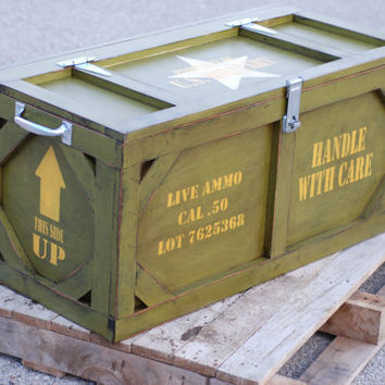 Toy box crate furniture military ammo box by KingstonCreations